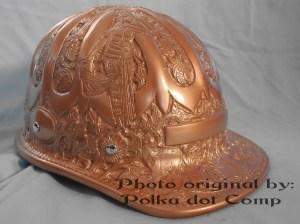bagian kanan topi ontel model proyek/ safety helmed full ukiran jogja