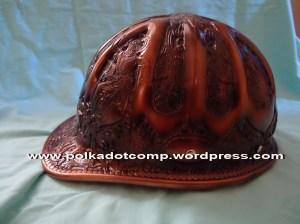 Topi Ontel Model Topi/Helm Proyek (safety helmed) full ukiran jogja warna coklat kayu