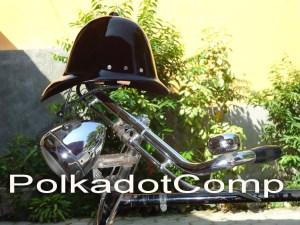 topi Onthel Model Serdadu Inggris warna Hitam Glossy
